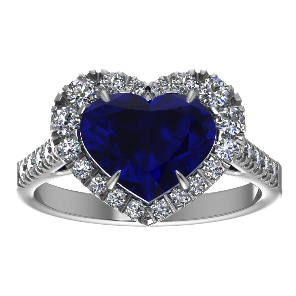 Кольцо с сердцем-сапфиром